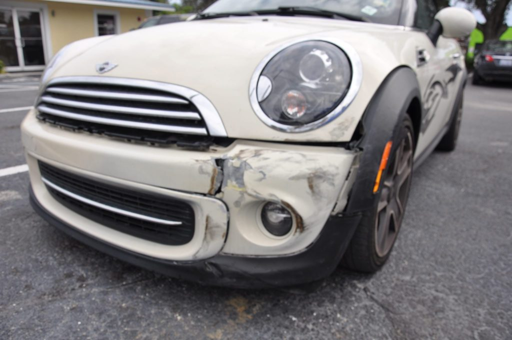 2012 Mini Cooper with front left impact damages