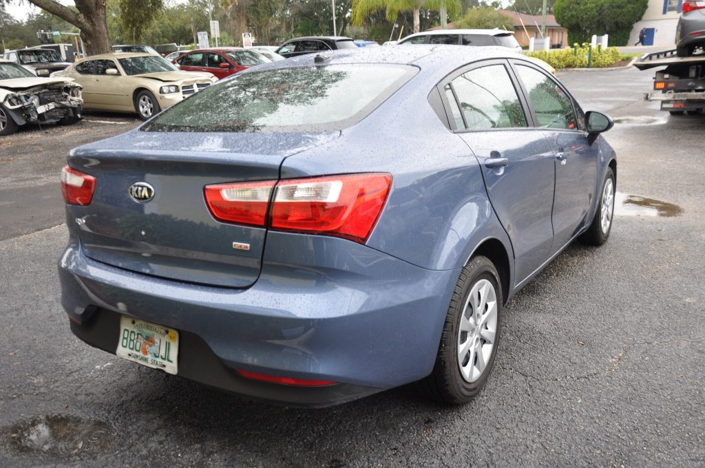 16 Kia Rio rear collision repaired