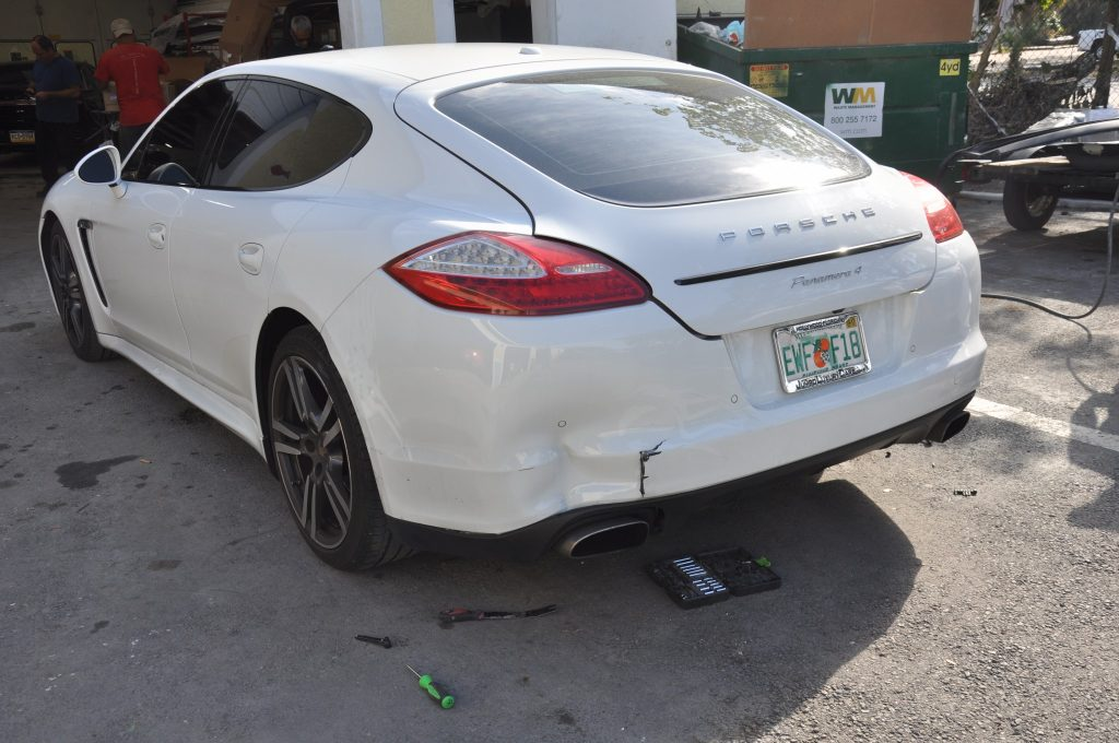 13 Porsche Panamara needs rear collision repairs