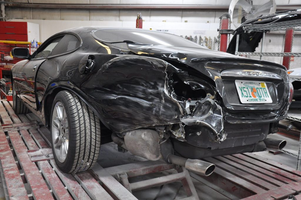 2002 Jaguar XK-R rear end damage